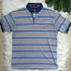 Tommy Hilfiger Blue Striped Polo Large